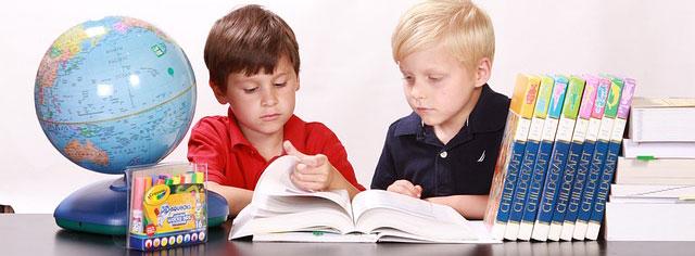 Kids studying focus